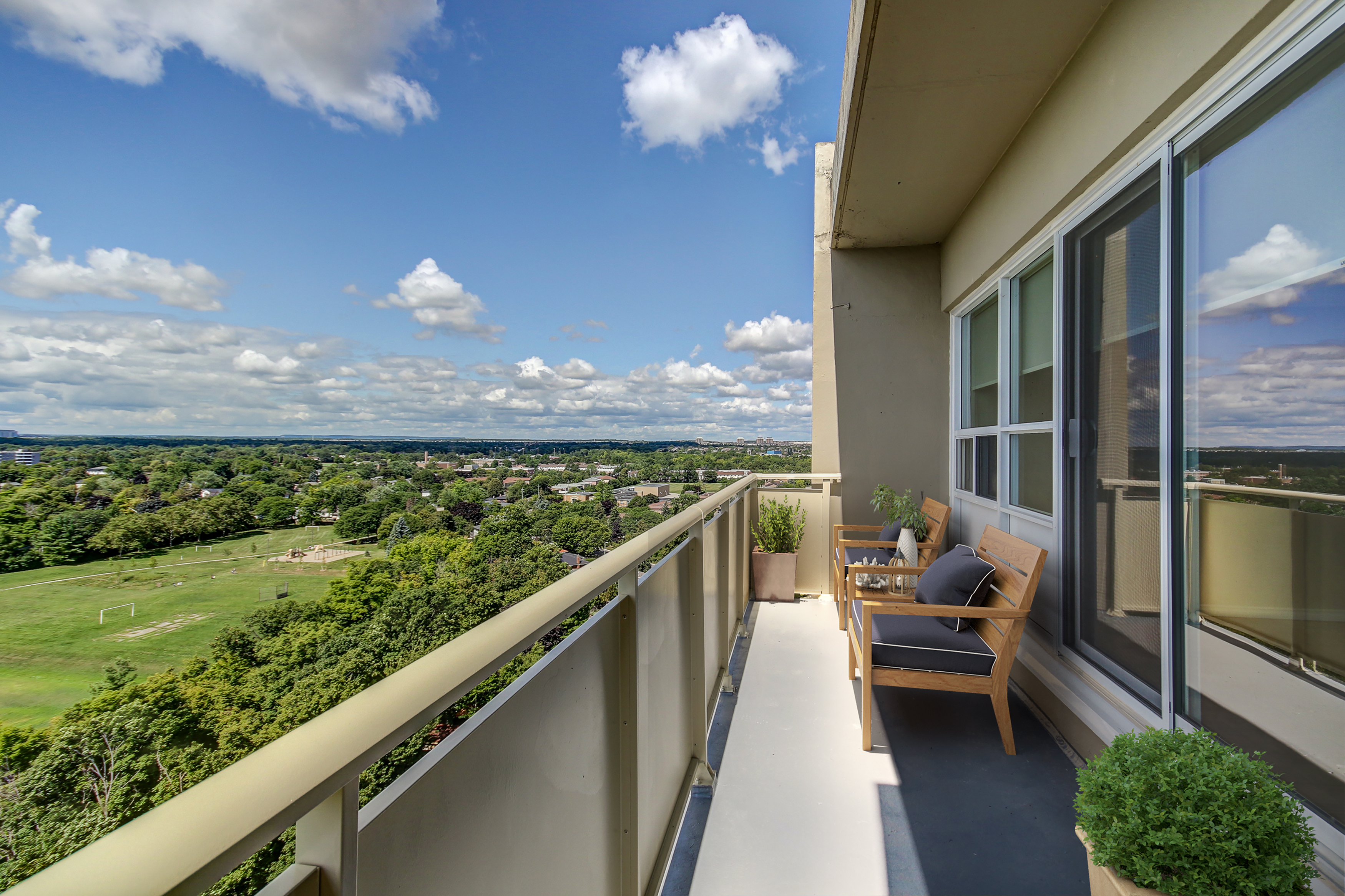 staged balcony with view 1130 queens avenue