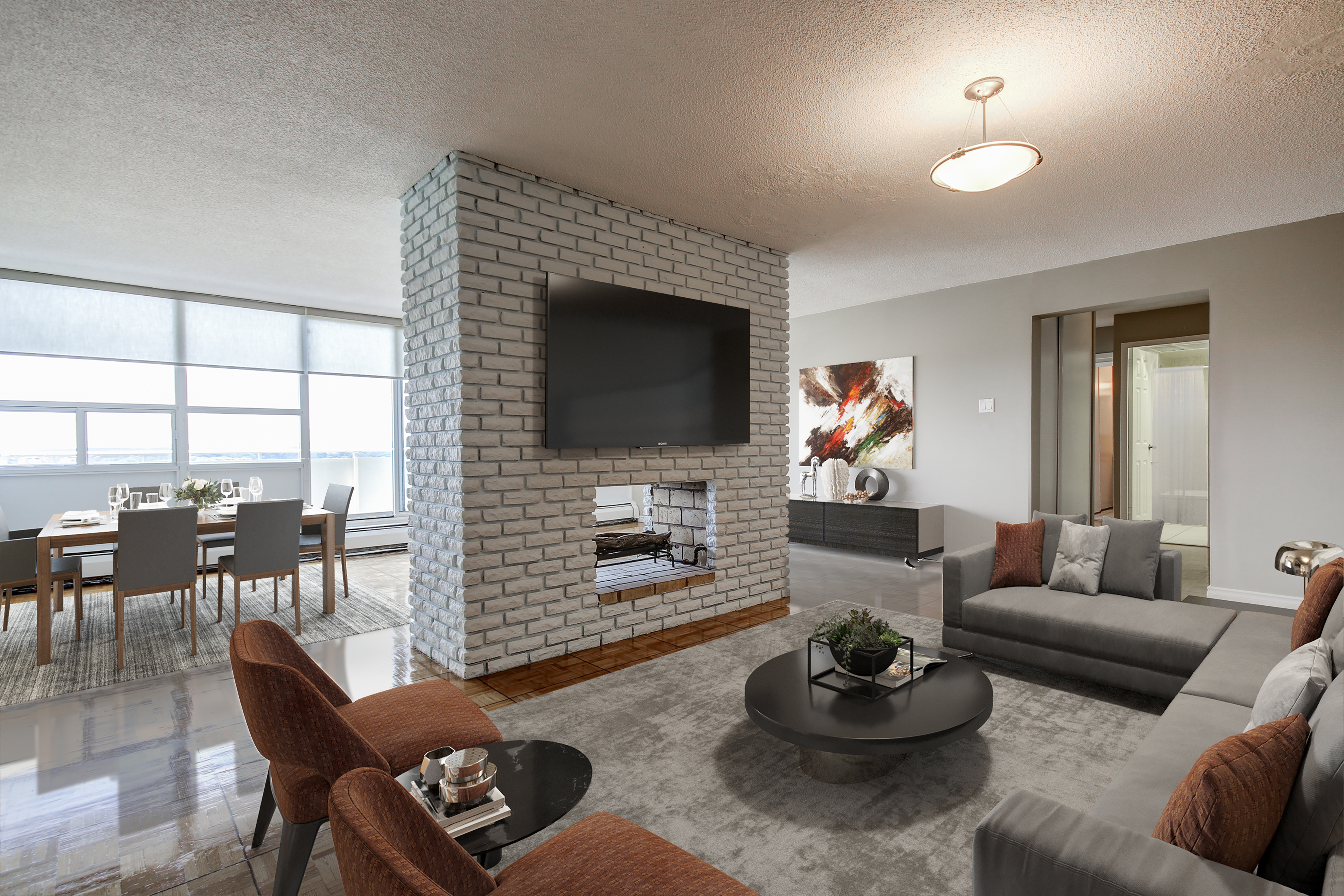 penthouse 1130 queens avenue oakville staged